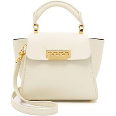 ZAC Zac Posen Eartha Top Handle Mini Cross Body Bag (422 AUD) ❤ liked on Polyvore featuring bags, handbags, shoulder bags, ivory, leather purse, mini crossbody, leather crossbody, white leather handbags and mini crossbody purse