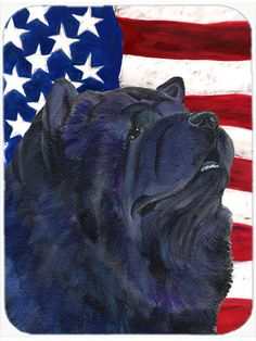 USA American Flag with Chow Chow Glass Cutting Board Large