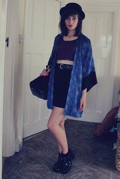 H Bowler Hat, Topshop Kimono, Topshop Burgundy Crop Top, Vintage Belt, Primark Black Skater Skirt, Topshop Black Frilly Socks, Juju Jelly Black Jelly Shoes, Primark Black Bag