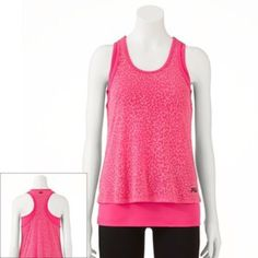 Fila Sport cheetah mesh racerback sleeveless tank Size large, color pink. Dual layer style. Soft mesh and stretch, breathable tank. Fila reflective front and rear logo. Pairs well with any bottoms. Fila Tops Tank Tops