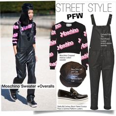 PFW STREET STYLE--Moschino Sweater +Overalls by kusja on Polyvore featuring Moschino, Current/Elliott, STELLA McCARTNEY, PFW, fashionWeek and parisfashionweek