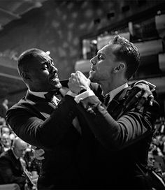 """Tom Hiddleston and Idris Elba make light of the endless speculation regarding the casting of a film about a certain British spy while waiting for the #eebaftas to start at the Royal Festival Hall."" Source: https://www.instagram.com/p/BFKBwHeKaXJ/ (Full size image: http://ww4.sinaimg.cn/large/6e14d388gw1f3phkdg8lcj24jb2yge89.jpg )"