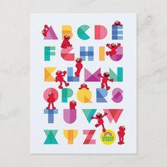Postal Alfabeto del Sesame Street el | Elmo | Zazzle.com Elmo, Alphabet Magnets, Edge Stitch, Custom Posters, Postcard Size, Custom Framing, Diy Design, Gifts For Kids, Paper Texture