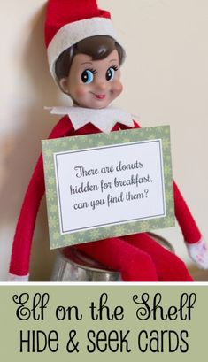 These are cute! Cards that your elf has hidden something the kids have to find. Has blank cards so that you can create your own hidden items.