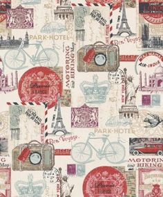 Postcards from Abroad (102516) - Albany Wallpapers - A montage of images and postcards reflecting travel overseas, Paris, New York in shades of beige, blue and red on cream.  Please request sample for true colour match.