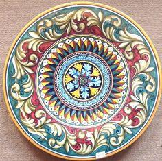 Deruta plate vario Pattern made/painted byhand-Italy. Deruta plate vario Pattern made/painted byhand-Italy. Pottery Painting, Ceramic Painting, Ceramic Art, Painted Pottery, Pottery Plates, Ceramic Plates, Design Set, Italian Pottery, Fish Patterns