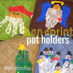 the third boob: diy: christmas hand print pot holders (childrens christmas crafts for parents) Diy Christmas Gifts For Parents, Diy Christmas Presents, Teacher Christmas Gifts, Christmas Crafts For Toddlers, Toddler Crafts, Kids Christmas, Kids Crafts, Christmas Hand Print, 2nd Grade Christmas Crafts