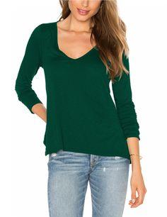 Autumn Long Sleeve Deep V Neck Shirt Top for Women - T-shirts - Women