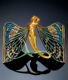 Rene Lalique Enamel, gold and diamond Art Nouveau brooch 1897-98