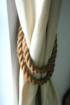 Handmade Wrap-around Manila Rope 2cm Thick Curtain Tiebacks by AndreaCookInteriors on Etsy