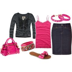"""""""Pretty In Pink"""" by classy92120 on Polyvore LOVE this outfit! soo cute!"""