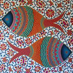 Pattern and Design: Tribal fish by Eliza Piro Mandala Art, Mandala Painting, Fabric Painting, Arte Tribal, Tribal Art, Fish Design, Design Art, Kunst Der Aborigines, Madhubani Art