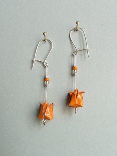 Orange Lotusblume Origami Ohrringe von ClairesOrigami auf Etsy
