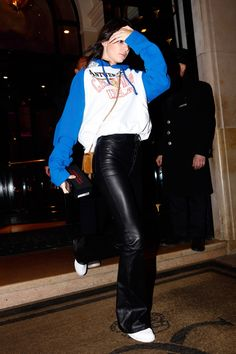 Kendall Jenner spotted in Vetements and Unravel in Paris.