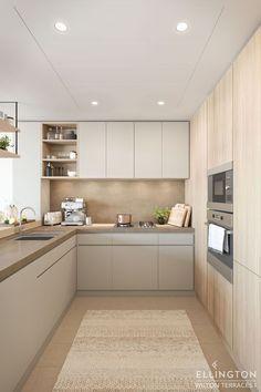 Kitchen Room Design, Kitchen Cabinet Design, Modern Kitchen Design, Kitchen Layout, Home Decor Kitchen, Interior Design Kitchen, Home Kitchens, Small Modern Kitchens, Contemporary Kitchen Cabinets