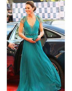 Cheap Kate Princess V-neck Blue Chiffon Celebrity Dress only for $189.99- PERSUN