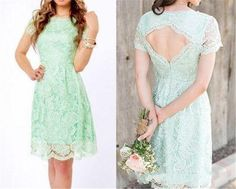 2015 New Arrival Sheer Bridesmaid Dresses Mint Light Green Sheath Short Sleeves Knee Length Vintage Lace Formal Gowns BBD4417