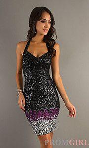 Short Open Back Sequin Dress