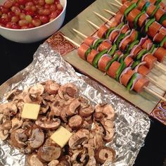 Sausage and pepper kabobs and mushrooms on the grill, with grapes for dessert. Paleo, gluten-free, grain-free, dairy-free, clean eating.