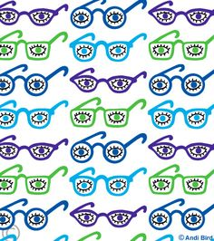 Funny and cute eyeglasses fabric by Spoonflower designed by me, Andi Bird.