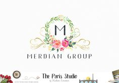 Watercolor Wreath Floral Logo Design