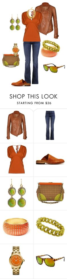 Fall orange & green by paintedjay on Polyvore featuring Valentino Roma, Donna Karan, 7 For All Mankind, Petrucha Studio, Prada, Tory Burch, Ben-Amun, Barse, Amrita Singh and Marika