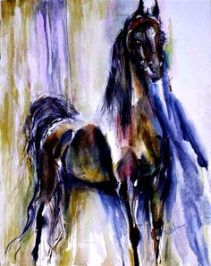 Black horse Watercolor horse Print SIGNED by the Attist by ratafia #etsy