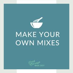 Tons of links to recipes for making your own homemade mixes from scratch! Make Your Own, Make It Yourself, How To Make, Food Storage, Make It Simple, Homemade, Cooking, Recipes, Kitchen