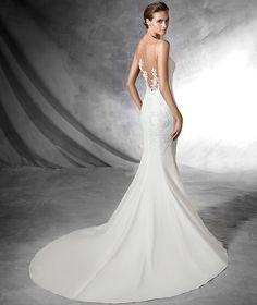 PLISA - Vestido de novia de estilo sirena hecho en crepe