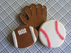 1 Doz Baseball Football Decorated Sugar Cookies - Sports Theme / Birthday Party / Treat