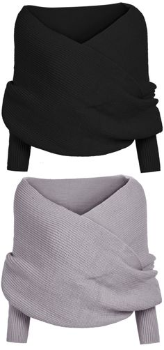 If you are a creative person who loves a more free and versatile style, you definitely should try this Classic Solid Color Wrap Batwing Sleeve V-neck Shawl Sweater from OASAP.com.