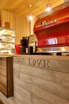 location: Chervonoarmіyska st., 100, Kiev, Ukraine function: Espresso Bar area: 120m2 status: realization 2014 designers: Aleksandr Yudin, Vladimir Yudin graphic designer: Vladimir Yudin photo: Dmitry Sandratsky