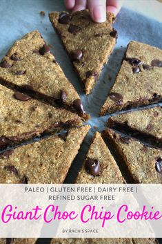 Giant Chocolate Chip Cookie | Paleo | Refined Sugar Free | Gluten Free | Dairy Free #paleo #glutenfree #chocolatechipcookies #cookie #healthyrecipes #cleaneating #paleodiet #healthyrecipes #dessert