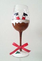 Christmas Chimney Wine Glass