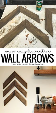 Super Easy DIY Wooden Arrow Wall Decorations Full DIY tutorial from on scrap wood projects beginner projects wall decor rustic reclaimed wood Diy Home Decor Rustic, Rustic Wall Decor, Easy Home Decor, Cheap Home Decor, Diy Wall Decor For Bedroom Easy, Living Room Wall Decor Diy, Farmhouse Living Room Decor, Wall Decor Crafts, Cheap Rustic Decor