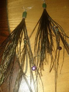Peacock Flue feather earrings