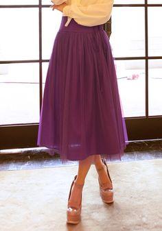 Purple Elastic Waist Belt Below Knee Cotton Skirt