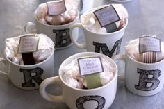 awesome christmas gift idea, diy initial mugs... then add a couple bags of coffee or tea -- perfect! Generic, but good idea, esp. if the holidays get busy