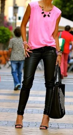 Hot pink and black leather look leggings