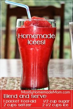 Homemade Icees, for the game room icee machine. the trick for texture is in the co2, seltzer in this recipe