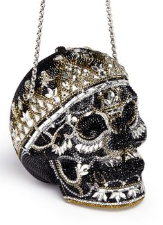 JUDITH LEIBER 'Bela Laugosi' skull crystal pavé minaudière