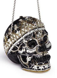 'Bela Laugosi' skull crystal pavé minaudière