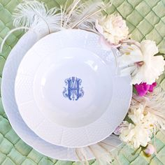 Beautiful custom monogrammed dinnerware enhances your tablescapes and adds a fun twist to a classic. Add a custom personal touch to our white porcelain china for gorgeous place settings. Choose from our 3 fonts and 5 colors at https://www.sashanicholas.com/shop-all/weave-rim-soup-bowl-with-monogram/ | Dinnerware Monogrammed | Tablescapes | China | Wedding Registry
