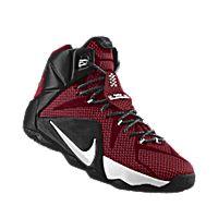 I designed the team red Nike LeBron 12 iD men's basketball shoe with black and white trim. #BasketballShoes