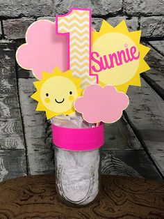 You Are My Sunshine Centerpiece Happy Birthday Sunshine Party Decor Photo Prop Suns Chevron Yellow And Pink Birthday Decorations i am one Centerpiece idea. Toddler Birthday Themes, Girl First Birthday, First Birthday Parties, Birthday Party Themes, Birthday Ideas, Pink Birthday Decorations, Happy Birthday Sunshine, 1st Birthdays, You Are My Sunshine