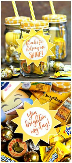 Jar of Sunshine Gift Idea - Teacher Appreciation Gift Let's celebrate all those fabulous teachers with a Jar of Sunshine! The perfect Teacher Appreciation Gift to brighten up your teacher's day. Employee Appreciation Gifts, Teacher Appreciation Week, Teacher Appreciation Breakfast, Teacher Assistant Gifts, Staff Gifts, Thank You Teacher Gifts, Thank You Gift Ideas For Coworkers, Teacher Presents, Volunteer Gifts