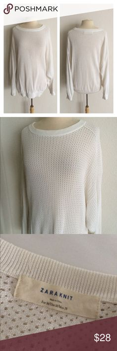 """FINAL💲Zara open knit oversized sweater Zara knit white sweater. Size M. Measures 28"""" long with a 40"""" bust. Oversized style. Dolman style sleeves. Extremely minor pilling on the bottom of sweater and bottoms of sleeves. Open knit.  🚫NO TRADES🚫 💲Reasonable offers accepted💲 💰Great bundle discounts💰 Zara Sweaters Crew & Scoop Necks"""