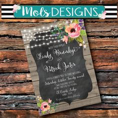Any Color FONT WEDDING Watercolor Flowers String Lights Pink Chalkboard Couples Baby Shower Rehearsal Reception Engagement Rustic Invitation