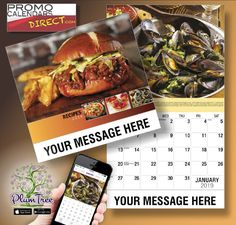2021 Recipe Wall Calendars for Business Advertising - low as Your Name, Logo & Ad Message in the homes and offices of people in your area every day! Wall Calendars, Your Message, Hands, Messages, App, Marketing, Logo, Business, Recipes