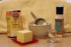 The ingredients for my sugar free pie crust pastry.   Flour Salt Erythritol Chilled butter Water